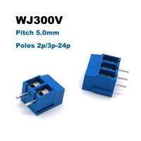 30/50/100 pces passo 5mm parafuso pcb terminais bloco conector pino reto 2p 3p latão morsettiera terminais bornier 300v 10a
