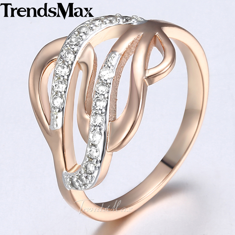 Trendsmax Engagement Rings For Women 585 Rose Gold Twined S Shaped Cubic Zirconia Wedding Band Rings Women Fashion 2018 KGR49