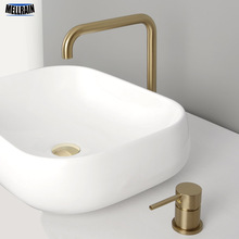 купить Separated Basin Water Mixer Tap Deck Mount Bathroom Faucet Brass Black & Brushed Gold & Rose Hot And Cold Water Mixer Faucet по цене 5385.28 рублей