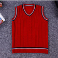 2016 Autumn Spring 1-7Y Baby Boys Knitted Vest V-Neck Sleeveless Vest Knitting Pattern Kids Waistcoat Red/Gary/Beige AS-1553