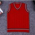 2016 Otoño Primavera Knitting Pattern 1-7Y Del Bebé Niños Chaleco de Punto Con Cuello En V Sin Mangas Chaleco Niños Chaleco Rojo/Gary/Beige AS-1553