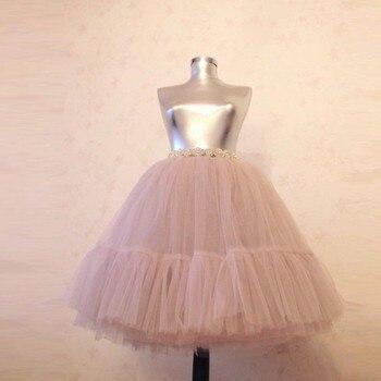 Real Picture Blush Pink Lush Tulle Skirts Women Pleated Knee Length Tutu Skirt Bridal Bridesmaid Midi Tulle Skirt Elastic