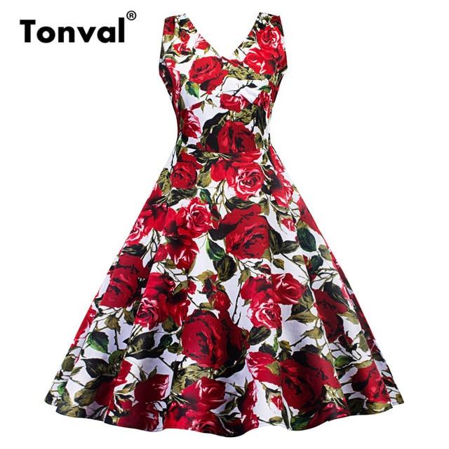 Tonval Red Rose Flower Print Elegant Dress Women Sleeveless Floral Vintage  Dresses Sexy V Neck Party Cotton Summer Dress cd4e0728d4ac