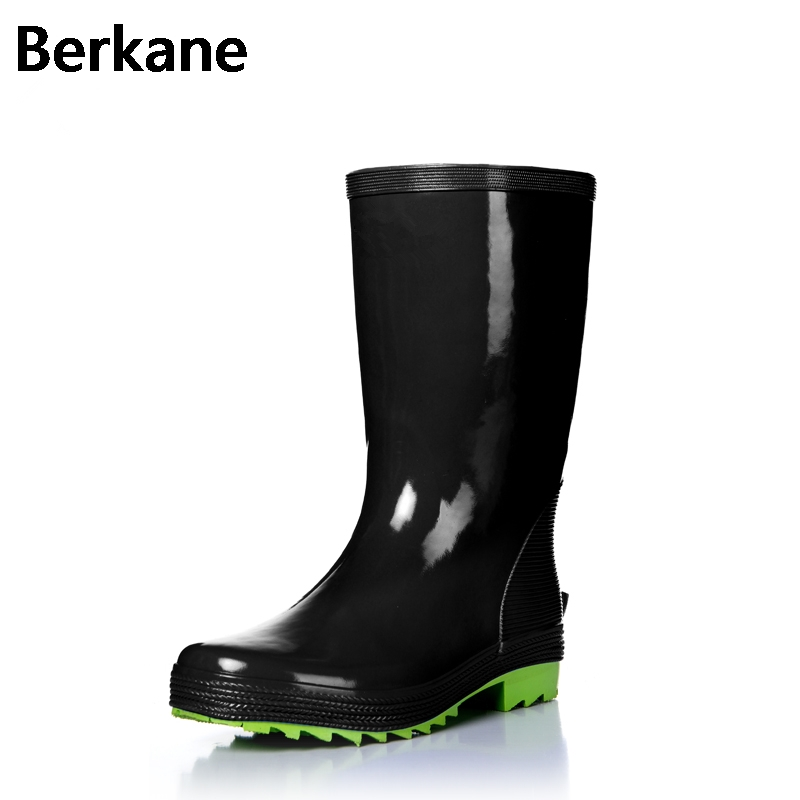 Solid Galoshes Rain Boots For Men Rubber Waterproof 2017 Fashion High Rainboots Gummistiefel Fishing Water Shoes Botas Hombre цена