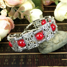 Retro Bohemia Style Tibetan Silver Plated Bracelet Red /Blue Turquoise Stone Square Beads Bangle Carving Charm Bracelet A200G retro gothic style square turquoise multilayered anklet for women