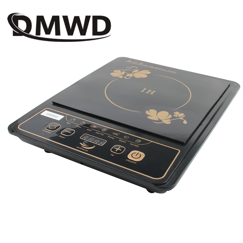 DMWD 110V Electric Magnetic Induction Cooker Waterproof Hot Pot Oven Furnace Cooking Stove Kitchen Hotpot Heater Cooktop 2000W dmwd commercial 3500w electromagnetic induction cooker household waterproof mini hotpot cooktop hot pot cooking stove eu us plug