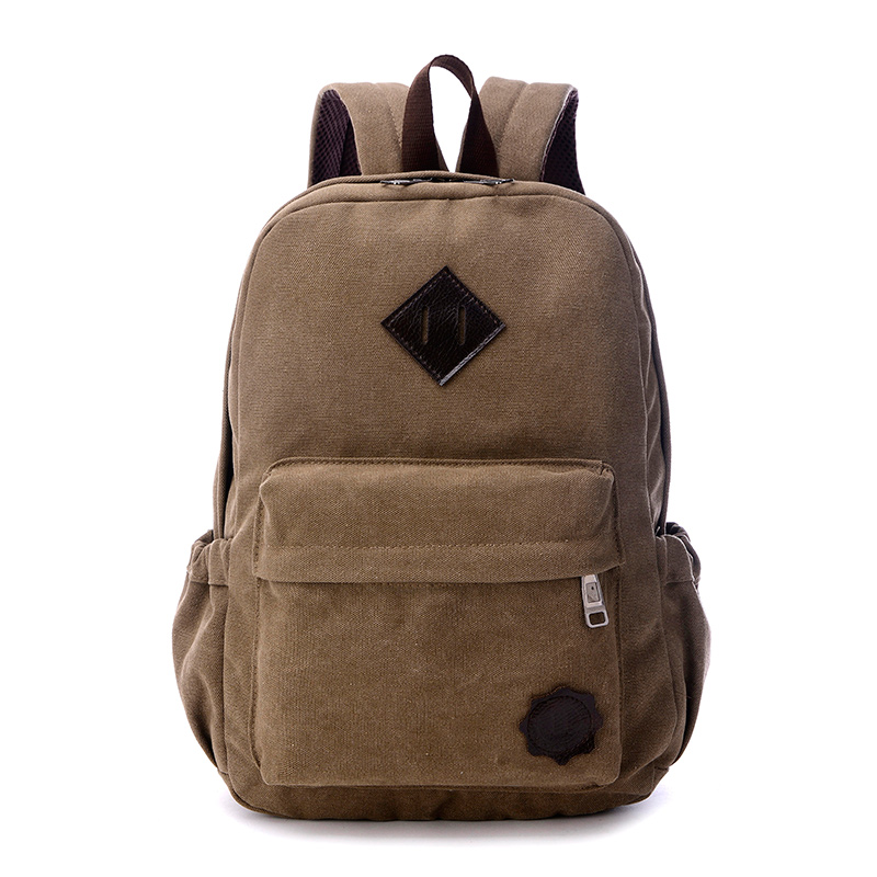 Canvas Backpack Preppy Style School Backpack For Boys Unisex 100% Cotton Travel Or Leisure Bag Neutral Minimalist Style Bag