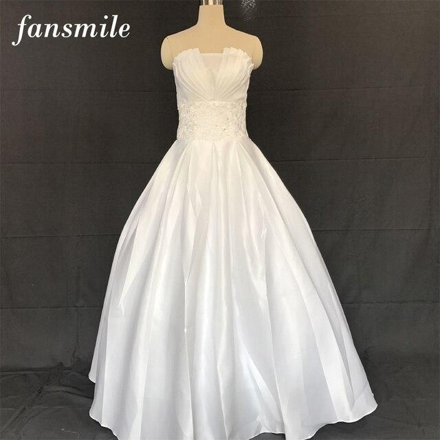Fansmile Cheap Satin Vintage Lace Up Wedding Dresses 2016 Sexy Plus Size Gown Vestidos