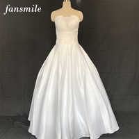 Fansmile Cheap Satin Vintage Lace Up Wedding Dresses 2016 Sexy Plus Size Wedding Gown Vestidos Dresses Casamento