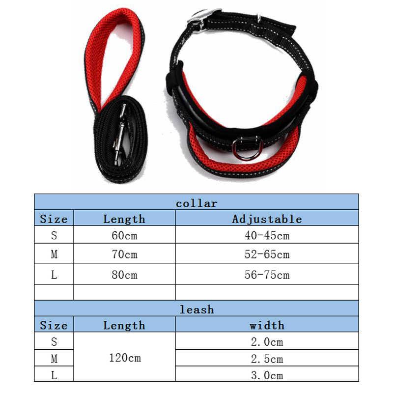 Laisse de collier de chien haute forte maille en nylon respirant réglable pour petit à grand chien poignée traction laisse collier accessoires de chien