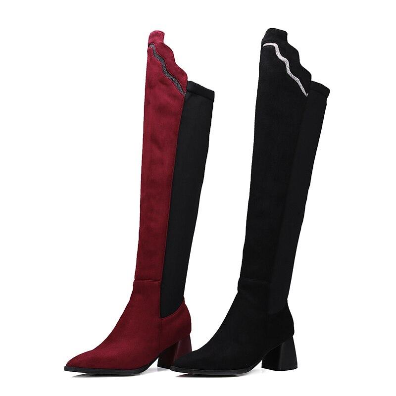 Altos Wine Tinto Sobre Flock Lycra black De Puntiagudos La Mujeres Invierno Nuevo Señoras Negro Felpa Botas Rodilla Corto Moda red Jk Calzado Zapatos Tacones vino xqSB0w4vE