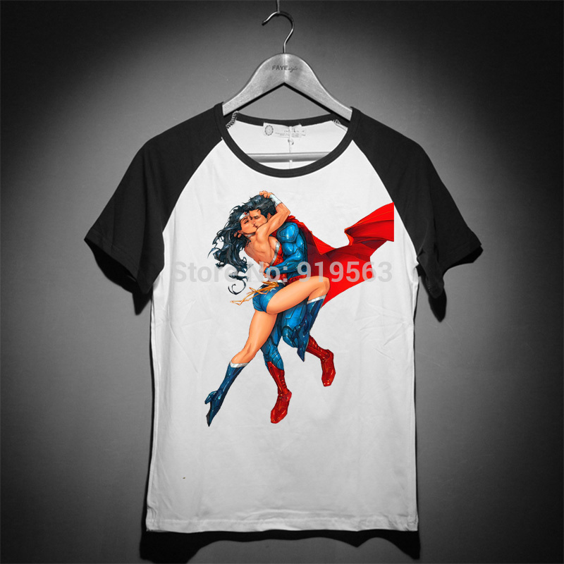 superman kiss wonderwoman black sleeves baseball style t shirt men women kids size brand ...