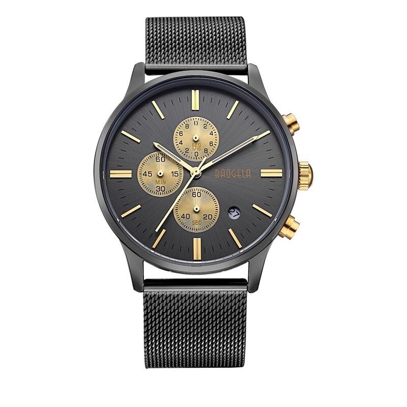 BAOGELA Stainless Steel Mesh Band Mens Watch Wrist Watch Waterproof Black Multifunctional Watch For Men waterproof stainless steel wrist watch black silver 30mm diameter 1 x lr626