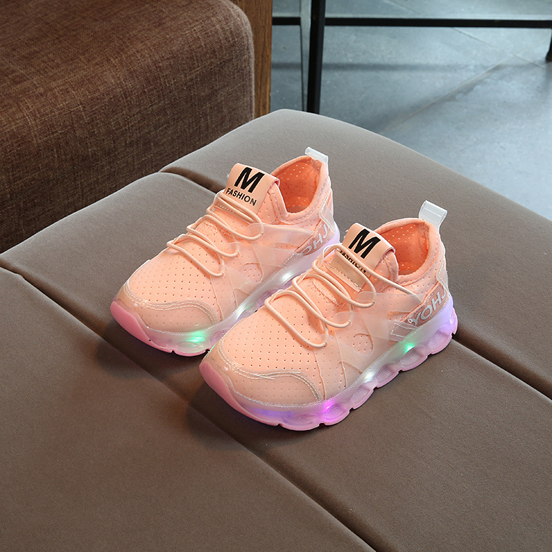 2017 Girls baby leisure sport shoes kids LED light shoes boys running shoes kids glowing sneakers