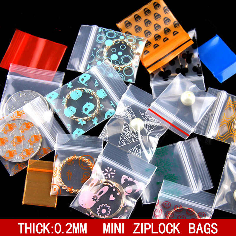 Cute Mini Plastic Zipper Bag Ziplock Bag Ziplock Pill Packaging Pouches Jewelry Food Boutique Gif Packaging Bags Multiple Sizes