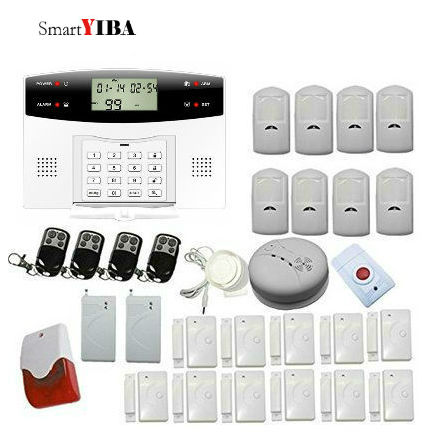 SmartYIBA Home Alarm Security GSM SMS Alarm Kits With Flashing Siren Panic Button Alert Shock Sensor Alarm System For Home 16 ports 3g sms modem bulk sms sending 3g modem pool sim5360 new module bulk sms sending device
