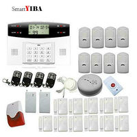 SmartYIBA Home Alarm Security GSM SMS Alarm Kits With Flashing Siren Panic Button Alert Shock Sensor Alarm System For Home