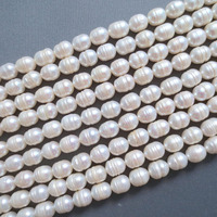 Hot Sell N628 5strand 9mm CREAMY WHITE FRESHWATER PEARL RICE BEADS 15 Top Quality Free