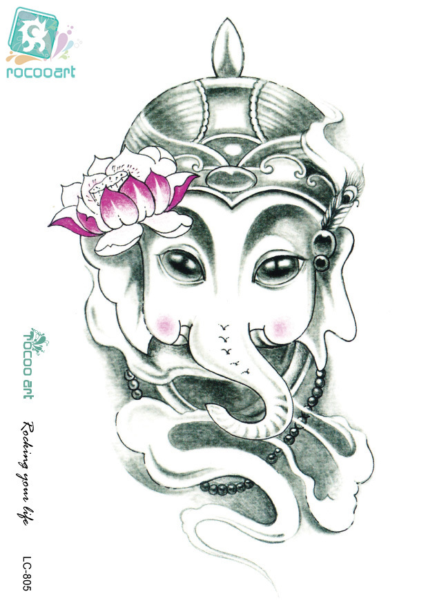 Rocooart SC2901 Pencil Sketch Elephant Nose General Lotus Drawing Designs Cool Chest Back Shoulder Temporary Tattoo Stickers ...