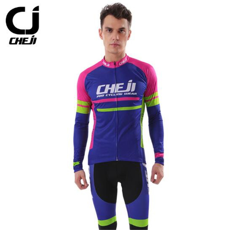 CHEJI Breathable Mountain Bike Jersey Long Sleeve Bicycle Cycling Clothing Autumn Spring Men's Cycling Jersey Sets cheji jersey shorts