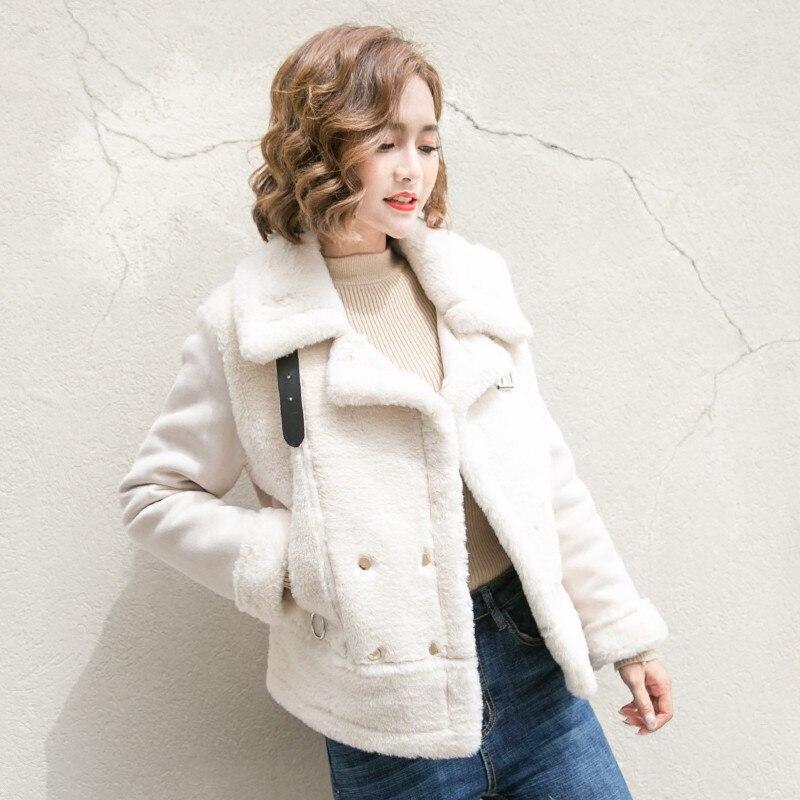 Faux Fur Coat Fashion Short Fur Ladies' Suede Jackets Women Jacket Bomber Basic Coats Zipper Outerwear Female Clothing A5106