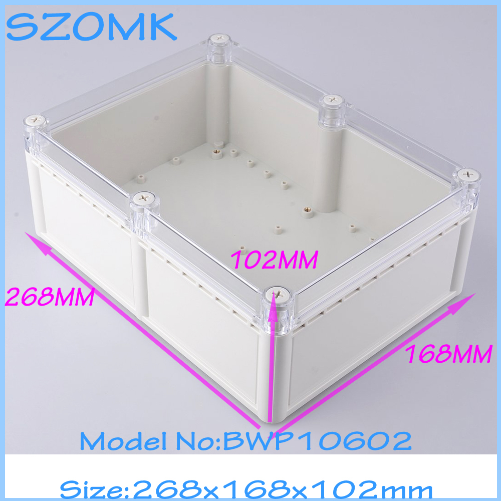 4 pcs/lot IP68 waterproof electronic box plastic box abs plastic enclosure box for electronic 268X198X102 mm waterproof abs plastic electronic box white case 6 size