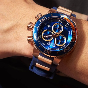 Reef Tiger/RT Top Brand Luxury Blue Sport Watch for Men Rose Gold Waterproof Watches Rubber Strap Relogio Masculino RGA3168 2