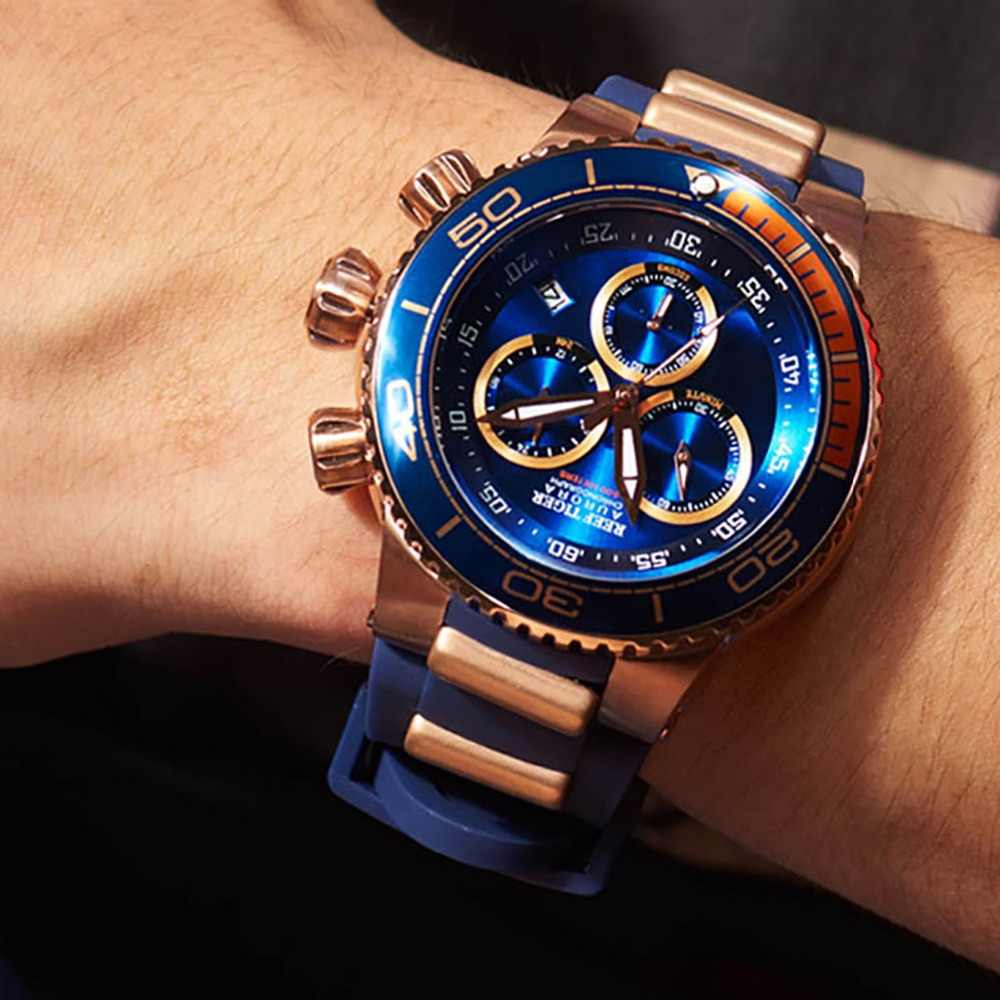 שונית טייגר/RT למעלה מותג יוקרה כחול ספורט לצפות עבור גברים רוז זהב עמיד למים שעונים גומי רצועת Relogio Masculino RGA3168