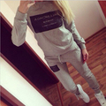 FancyQube New Women's Elastic Waist Letter Printed Top Casual Pants Hedging Outwear