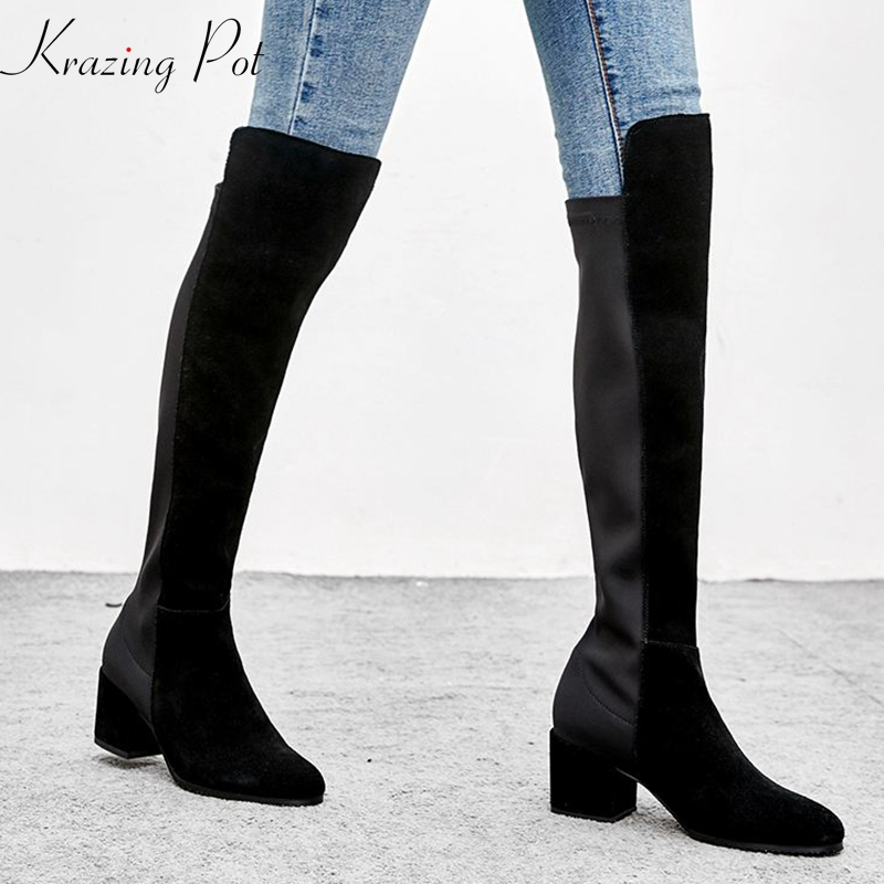 krazing pot cow suede full grain leather round toe cozy stovepipe slip on high heels bigger
