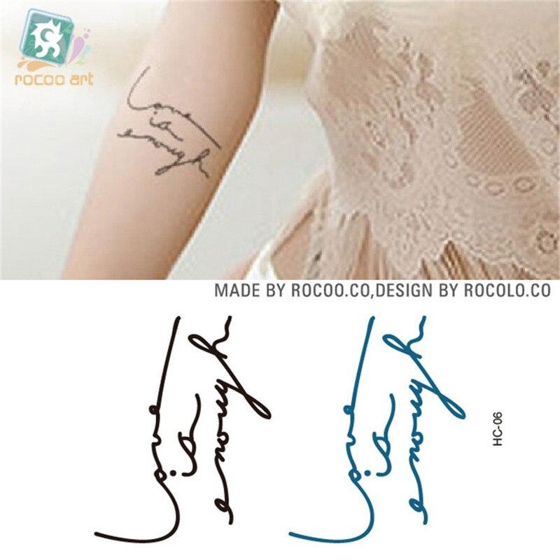 Body Art Waterproof Temporary Tattoos For Men Women Simple 3d English Letters Design Flash Tattoo Sticker HC1006