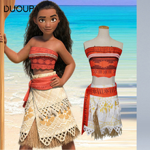 DOUOPA Princess Moana Cosplay Costume 2019 For Children Vaiana Dress Costume with Necklace For Halloween Costumes For Kids Girls baby girls clothes moana dress cosplay costume for children vaiana dress costume for halloween costumes for kids girls 63311