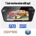 Más nuevo de la alta resolución 1024 * 600 Full 7 '' TFT LCD espejo retrovisor del coche Monitor Bluetooth / MP5 Usb Slot / TF de ayuda al aparcamiento