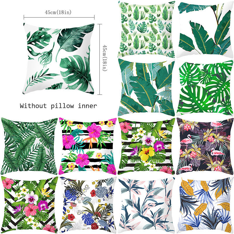YWZN Tropical Plants Throw Pillow Case Summer Green Leaves Decorative Pillowcase Tropical Plants Polyester Pillow Cover