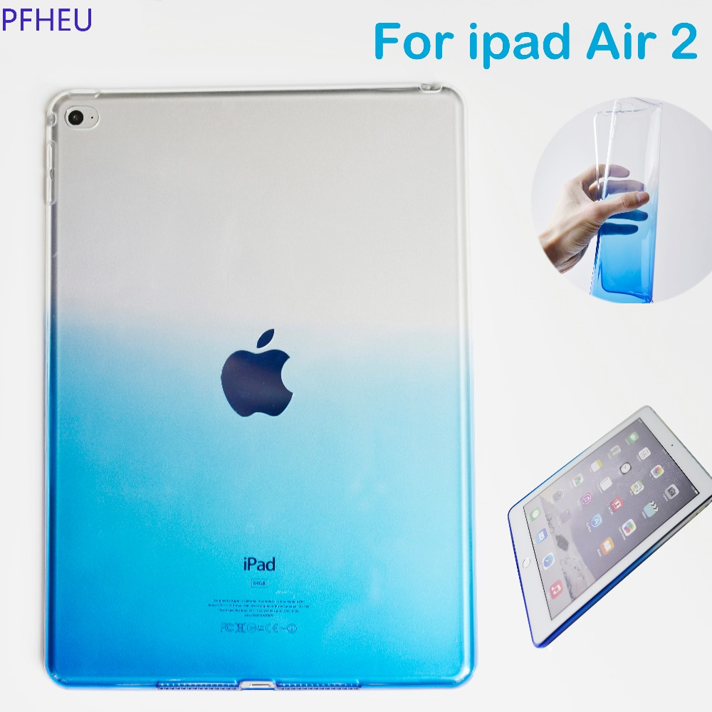PFHEU Ultra Thin Colorful Rainbow Soft TPU for ipad 6 Gradient TPU Transparent Cover For Apple iPad Air 2 Model A1566 A1567 Case