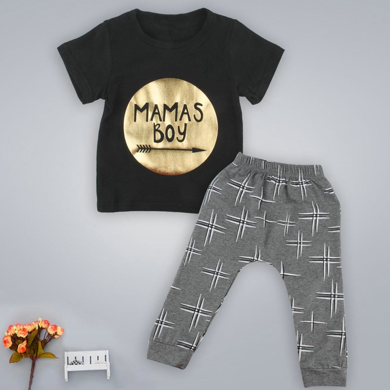 cd634a3b2 Newborn Infant Baby Boys Kid Clothes T shirt Tops + Pants Outfits Sets  Fashion letter Mamas boy printed Children's Clothing Set-in Clothing Sets  from Mother ...