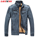 LONMMY 3XL Thick velvet Leather jacket men coat Stand Collar PU Motorcycle jackets Leather Faux Suede winter jacket men Coat