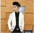 Hombre nuevos hombres cantante versión coreana delgada de la flor discoteca costura ocio traje pequeño traje chaqueta trajes de ropa