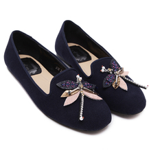Zapatillas Mujer Casual Size 34-40 Ladies Flats 2017 Spring Black/Blue Flat Leather Women Round Toe Shoes Fashion Ladies Loafers