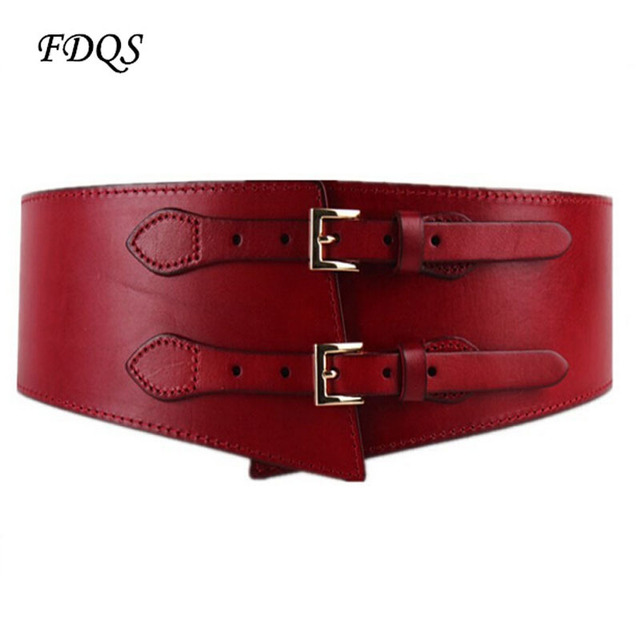 2017 Double leather ladies vintage elegant wide belt leather girdle all-match female fashion leather belts for women wholesale