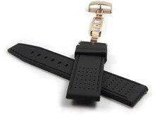 22mm Hombres Correas de Reloj de Oro Rosa Doble Hebilla Negro Buceo Impermeable de Caucho De Silicona Correas de Reloj Relojes Hombre 2016