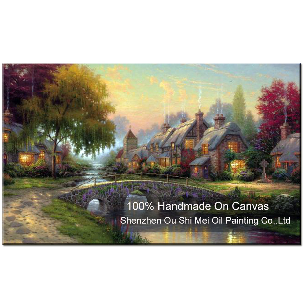 New Hand Painted Thomas Landscape Oil Painting On Canvas for Home Decor European Country Scenery Living Room Decor Paintings Art