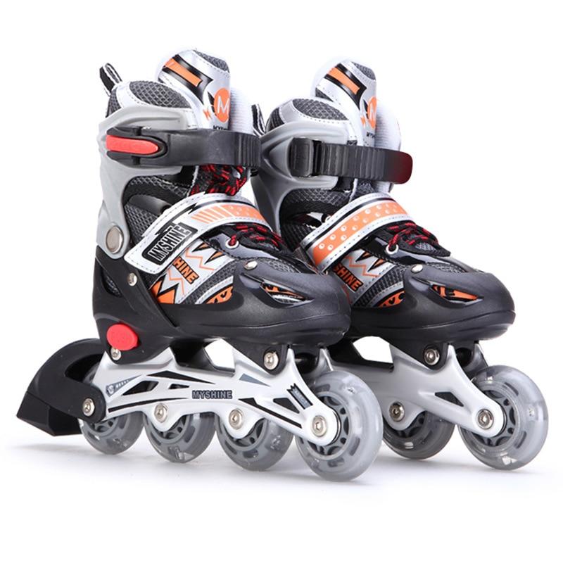 купить Kid's Roller Skates Shoes Athletic Roller Shoe for Children Straight Low PU Wheels Skating Shoes All Wheels Flash Size 28-41 по цене 3491.67 рублей