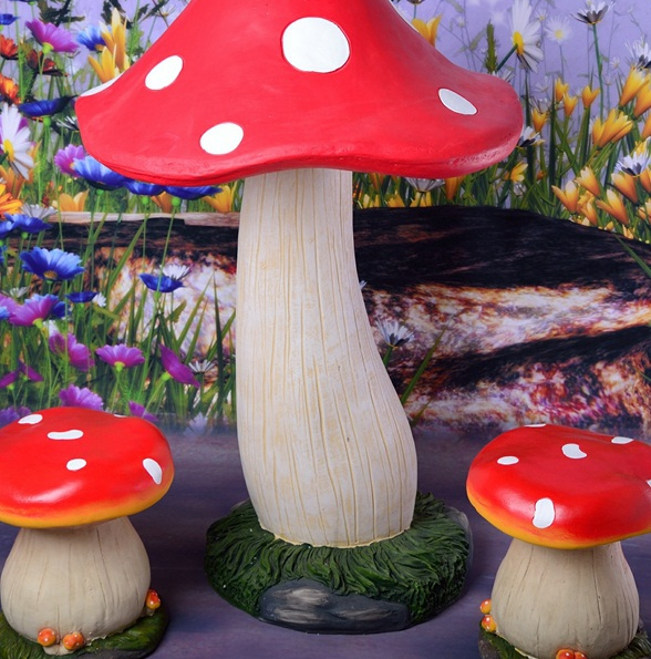 Resin Chairs Mushroom Mushrooms Outdoor Landscape Green Decorative  Ornaments Crafts Garden Gardening Pieces