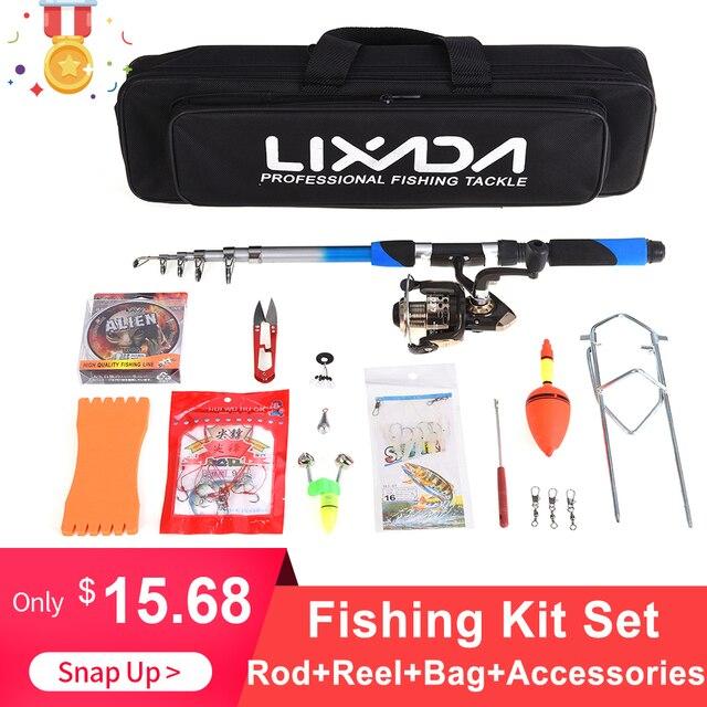 Lixada Telescopic Fishing Rod Combo 2.1m Fiberglass Rod 5.2:1 Spinning Fishing Reel Bait Hook Nylon Fishing Bag Fishing Kit Set