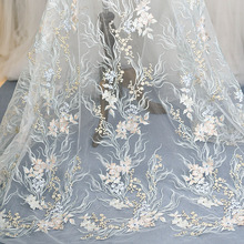 1Piece Beautiful Lace Appliqued Embroidered Venise Applique Flower Sewing Trims Clothes Fabric For Wedding Veil