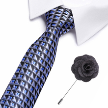 New Brand Fashion Extra long size Plaid Dark Blue Black Mens Neckties Silk Matching Hanky Jacquard Woven Ties and free brooch