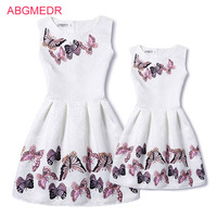 Mother Daughter Dresses 2017 New Girls Vintage Printed Spring Dress Family Matching Dressd Mother Daughter Clothes