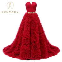 Sunvary High end Notched Neckline Red Quinceanera Dress Sweep Flower Ruffled Skirt 16 year Old Quinceanera Ball Gown Gold Belt