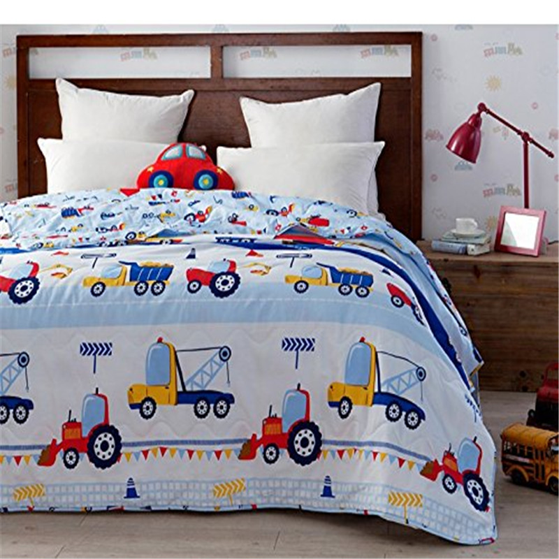 c44502783244 Blue Kids Bedding Trucks Printed Boys Car Quilt Comforter Throw Blanket  Super Soft Cotton Quilts 1 Piece Summer Quilts Twin Size-in Bedding Sets  from Home ...